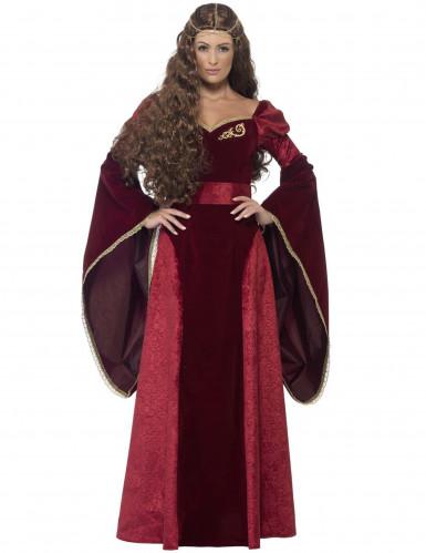 Disfraz de reina medieval rojo mujer