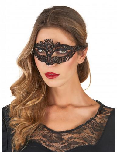 Máscara veneciana encaje negro mujer