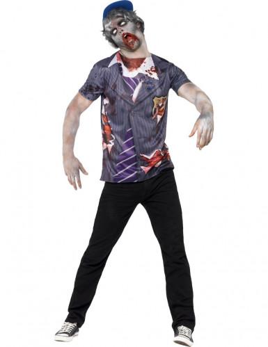 Camiseta zombie estudiante hombre Halloween