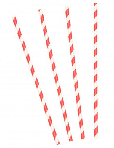 10 Pajitas de cartón rayas rojas y blancas