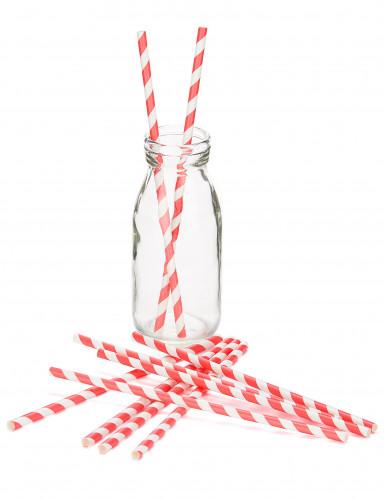 10 Pajitas de cartón rayas rojas y blancas-1