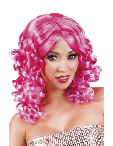 Peluca rizada rosa mujer