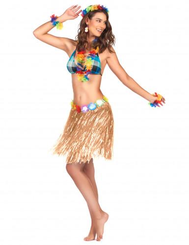 Falda hawaiana corta plástico adulto