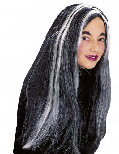 Peluca bruja negra y blanca fluorescente niña Halloween-1