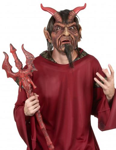 Máscara adulto diablo con pelo Deluxe Halloween
