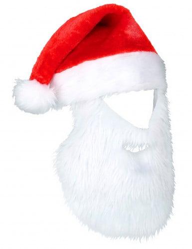 Gorro Papá Noel con barba adulto Navidad