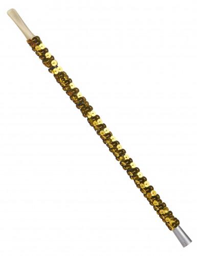 Boquilla lentejuelas dorado adulto
