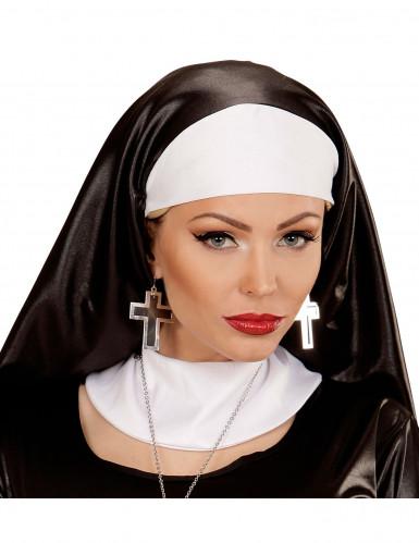 Pendientes cruz plateada y negra mujer