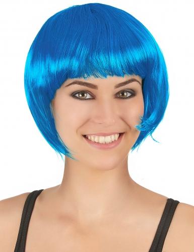 Peluca corta azul mujer