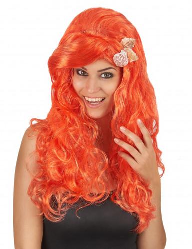 Peluca larga naranja mujer