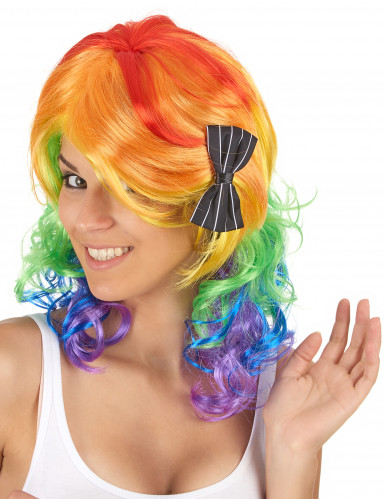 Peluca media melena multicolor mujer