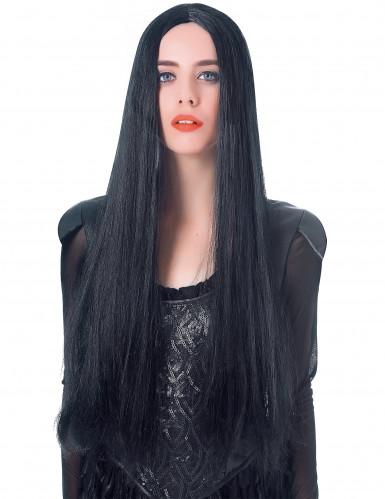 Peluca larga negra mujer 75 cm