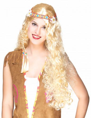 Peluca larga hippie rubia mujer