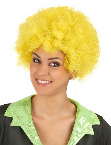 Peluca afro/ payaso amarillo confort adulto-1