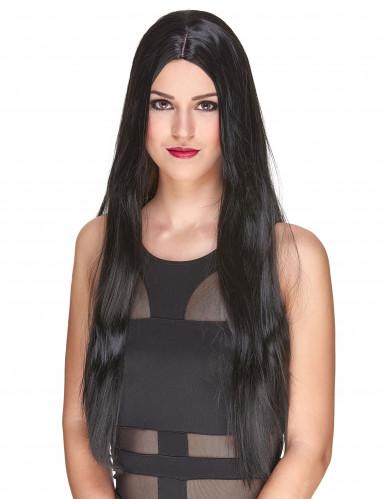 Peluca negra larga mujer Deluxe