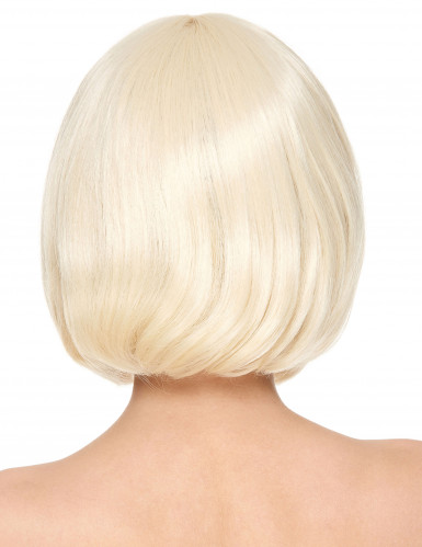 Peluca rubia corta flequillo Deluxe mujer-1