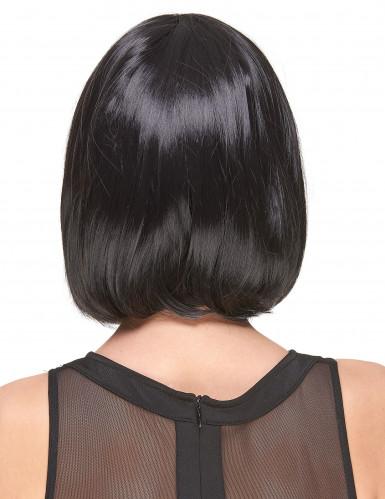 Peluca negra recta flequillo Deluxe mujer-1