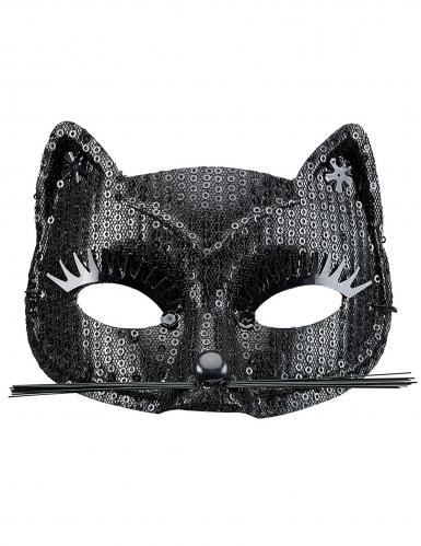 Antifaz gato lentejuelas negras adulto