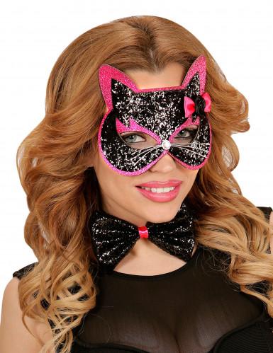 Kit accesorios gato negro y rosa purpurina adulto