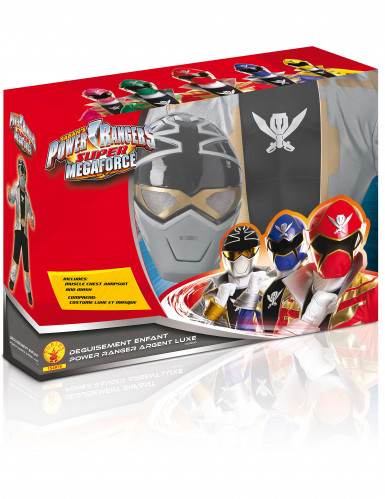 Disfraz 3D EVA Power Rangers™ Silver super mega force niño-1