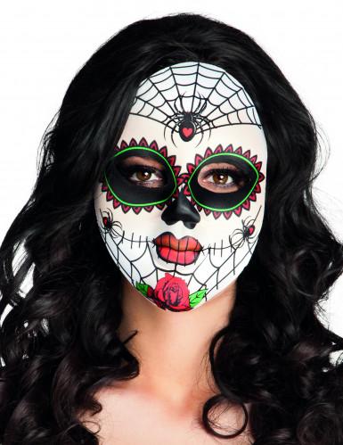 Máscara colores arañas adulto Día de los Muertos