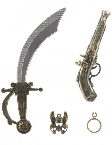 Kit de pirata - Sable pistola insignia y pendiente Niño