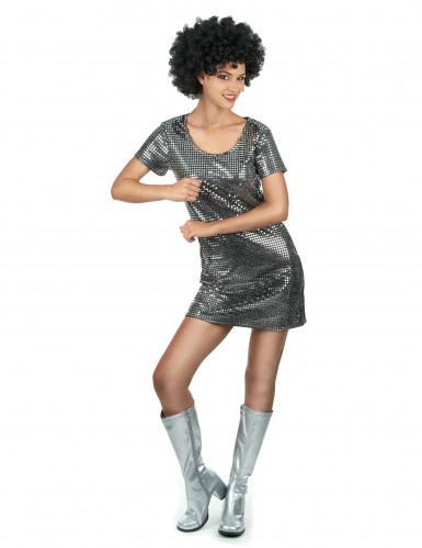 Disfraz vestido disco plateado