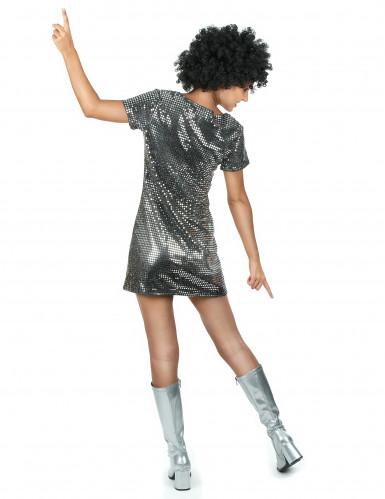 Disfraz vestido disco plateado-2