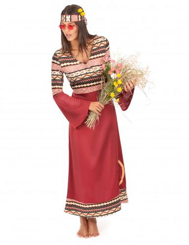 Disfraz vestido hippie burdeos mujer