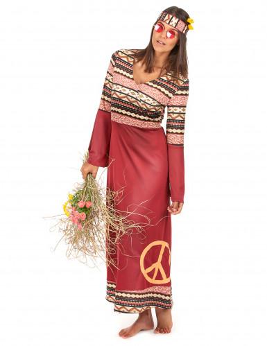 Disfraz vestido hippie burdeos mujer-1