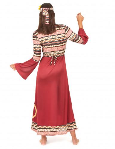 Disfraz vestido hippie burdeos mujer-2