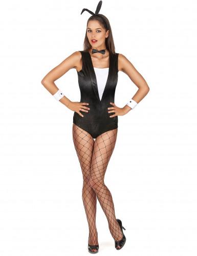 Disfraz conejo sexy mujer blanco y negro