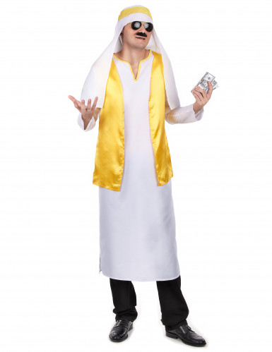 Disfraz jeque árabe blanco y amarillo hombre