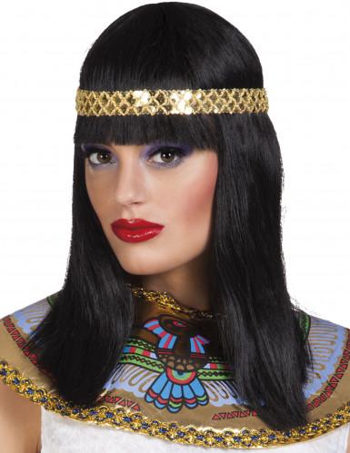 Peluca negra media melena diadema reina del Nilo mujer