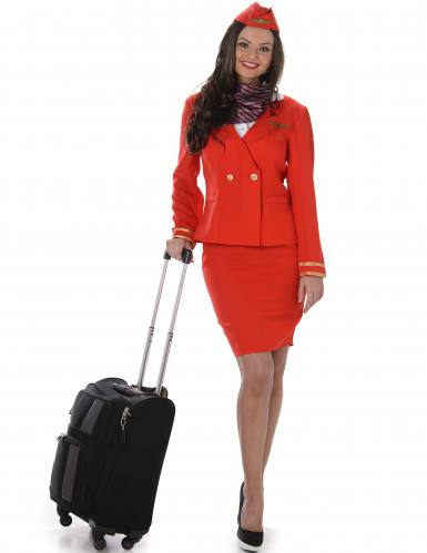 Disfraz azafata de vuelo rojo mujer