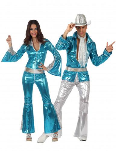 Disfraces de pareja disco azul adultos