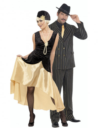 Disfraz pareja charlestón dorado