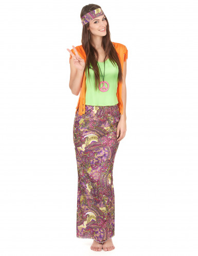 Disfraz de hippie falda larga mujer