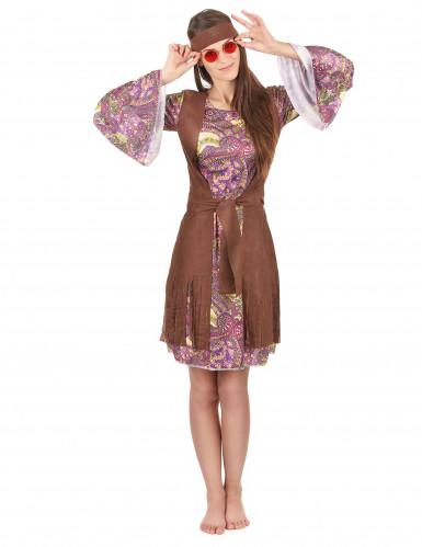 Disfraz de hippie colores psicodelic mujer