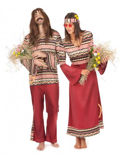 Disfraz de pareja hippie burdeos adulto