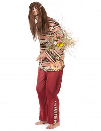 Disfraz de pareja hippie burdeos adulto-1