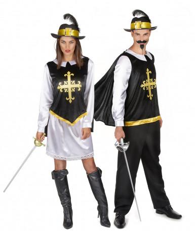 Disfraz de pareja mosquetero negro adulto