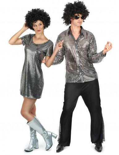 Disfraz de pareja disco plateado adultos