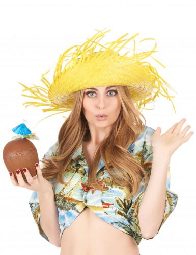 Sombrero Hawái amarillo adulto-2