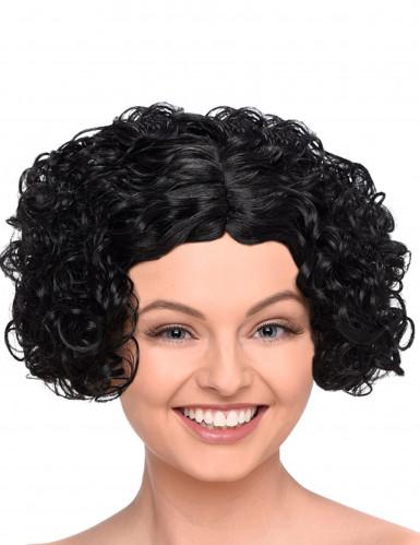 Peluca negra corta rizada mujer