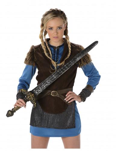 Disfraz de vikingo azul mujer-1