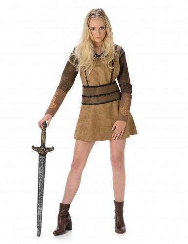 Disfraz de vikinga marrón mujer