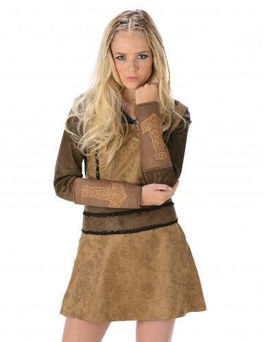 Disfraz de vikinga marrón mujer-1