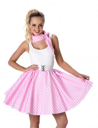 Disfraz años 50 rosa con puntos blancos mujer-1
