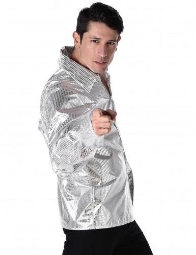 Camisa disco brillante plateada hombre-1